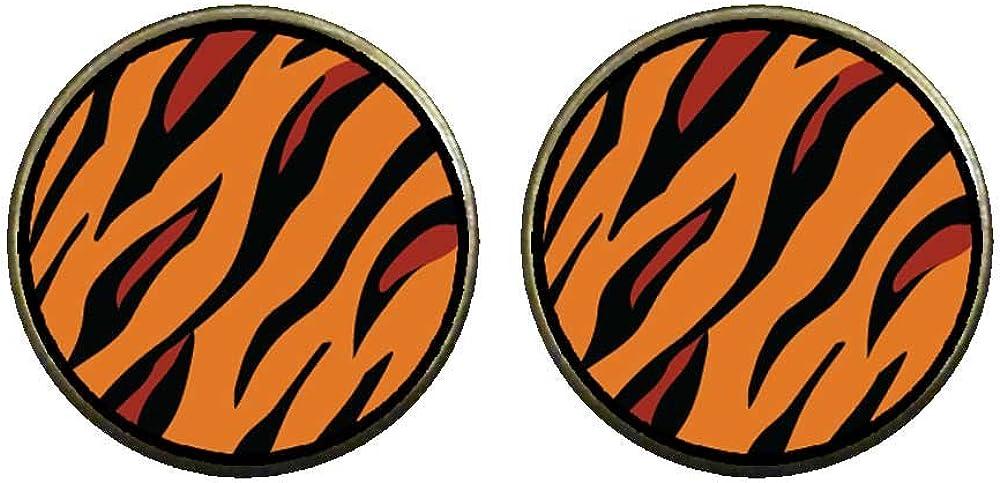GiftJewelryShop Bronze Retro Style Tiger Skin Photo Clip On Earrings 14mm Diameter