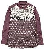 【INTERMEZZO】インターメッツォ 日本製 ニット転写プリント カジュアルシャツ(長袖) 紫 size 3L