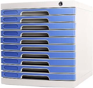 Armoires de classement A4 10 couches Bureau Boîte de rangement de bureau avec verrou bleu