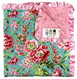 Baby Blanket - Pink Flowers on Turquoise with Minky Rose Swirl and Satin Ruffle