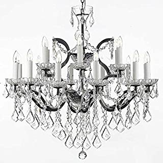 19th C. Baroque Iron & Crystal Chandelier Lighting H 28