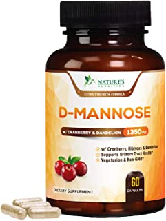 D-Mannose Capsules with Cranberry for UTI Support 1350mg - Extra Strength Urinary Tract Cleanse & Bladder Health, All-Natural Fast-Acting Pills w/Dandelion & Hibiscus - 60 Capsules