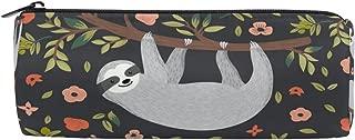 KUWT Pencil Bag Cute Sloth Floral Tree, Pencil Case Pen Zipper Bag Pouch Holder Makeup Brush Bag for School Work Office