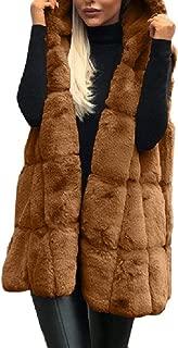 Howely Women Outwear Vest Hoodies Sleeveless Cardigan Fluffy Jacket Coat