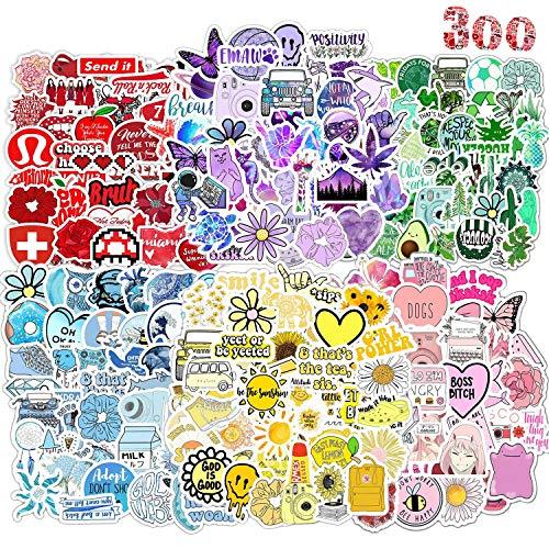 AIRNOGO Aufkleber 300 Stück Vinyl Aufkleber VSCO Girl Wasserdicht Stickers Trendy Sticker Einzigartige Coole Aufkleber für Fahrrad Skateboard Snowboard Gepäck Laptop Aufkleber MacBook iPad und mehr