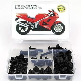 Xitomer Full Sets Fairing Bolts Kits, for HONDA HONDA VFR 750 1990 1991 1992 1993 1994 1995 1996 1997, Mounting Kits Washers/Nuts/Fastenings/Clips/Grommets (Matte Black)