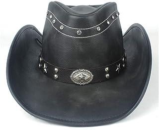 SHENTIANWEI 100% Leather Women Men Black Western Cowboy Hat with Roll Up Brim Punk Belt Jazz Sombrero Cap Dad Hat Size 58-59CM