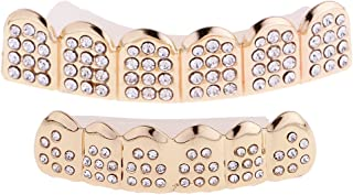 IPOTCH 2Pcs Hip Hop Grill Set Top Bottom Mouth Tooth Cap Bling Hip Hop Teeth Grill