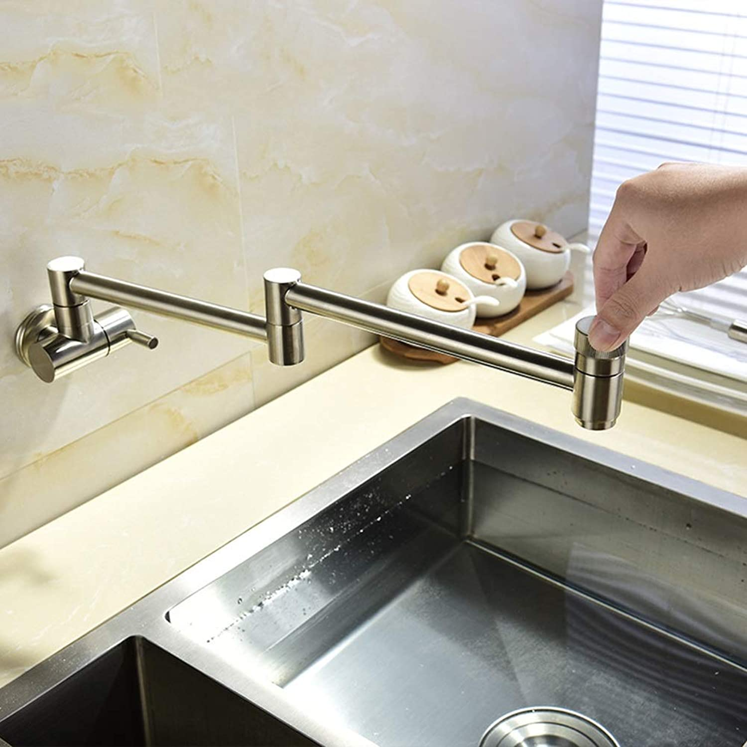 Faucet Basin Tap Copper In-wall Tap Single Cold Faucet Kitchen Sink Faucet Foldable Single Cold Faucet Laundry Pool Extension Faucet