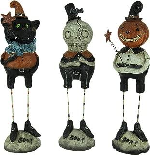 Transpac Resin Halloween Decor Set of 3 Pumpkin Peeps Vintage Look Halloween Figurines 2.5 X 9 X 2.25 Inches Multicolored