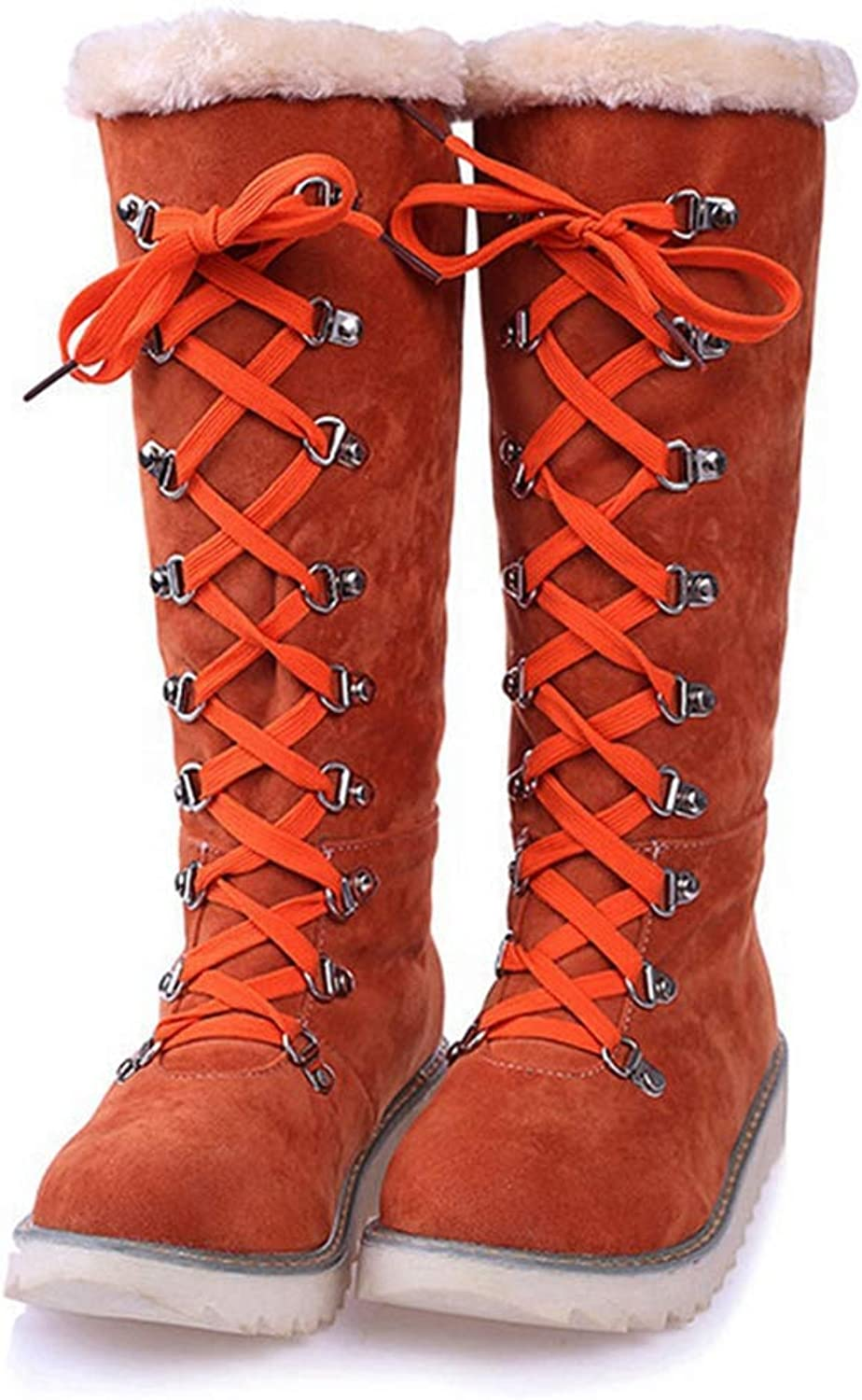 CYBLING Womens Winter Warm Snow Boots Waterproof Suede Low Heel Lace up Mid Calf Boots