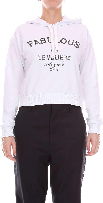 Le Voliere Women's WS18F032SWWHITE White Cotton Sweatshirt