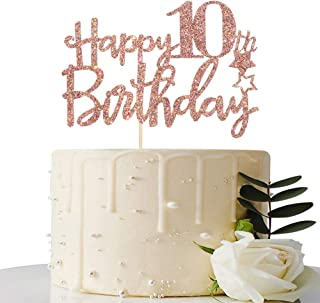 Rose Gold Glitter Happy 10th Birthday Cake Topper - 10 Cake Topper - 10th Birthday Party Supplies - 10th Birthday Party De...