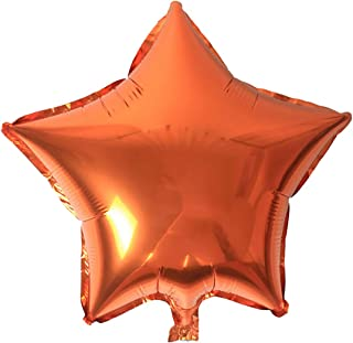 "KALOR 10 Pcs 18"" Foil Star Balloons, Mylar Balloons for Wedding Birthday Baby Shower Party Supplies(Orange)"