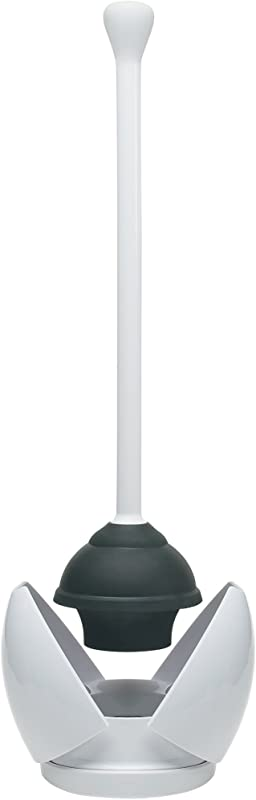 OXO Good Grips Hideaway Toilet Plunger And Canister White