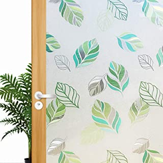 Leaf Frosted Non Adhesive Decorative Window Film, Privacy Glass Door Film, Static Cling Window Tint, Removable/No Glue/Anti UV for Home and Office Decoration, 17.5x78.7 inch