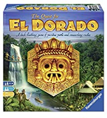 What you get - the quest for El Dorado comes with 7 Terrain tiles, 2 Terrain strips, 1 ending tile, 6 blockages, 8 playing pieces, 4 Expedition boards, 1 starting player hat, 1 market board, 86 Expedition cards, 36 Cave tokens, and instructions. Fun ...