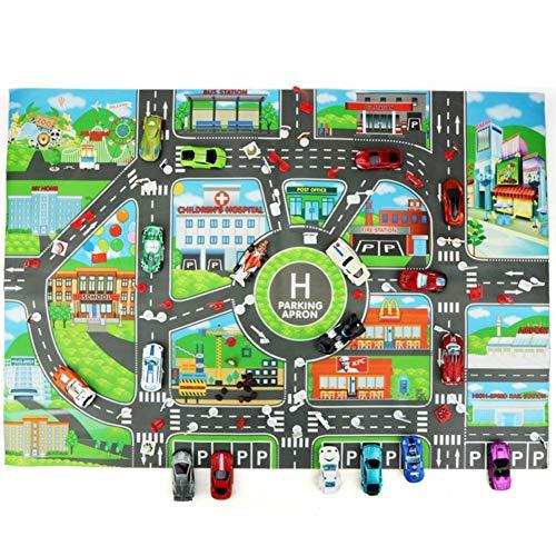 Kitabetty Auto Teppich Spielmatte, Kinderteppich Spielmatte Spielzeugauto Teppich, für Stadtleben Straßenverkehr pädagogisch, für Kindergarten im Spielzimmer, 83×58 cm