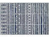 Famibay Alfombra de Plastico Reciclado Interior y Exterior Alfombrilla Reversible Alfombra Azul y Blanca para Terraza Balcón Camping Picnic Jardin Patio Piscina