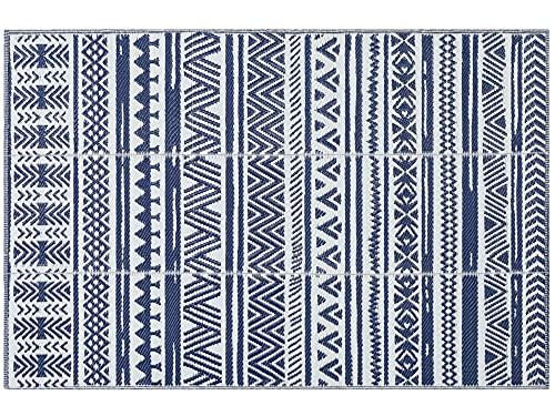 Famibay Tapis Exterieur Terrasse Plastique Bleu Tapis de Jardin Imperméable 4x6Ft Tapis de Camping Pliable Tapis Interieur Salon Tapis Réversible Tapis de Sol pour Balcon Pique-nique Pont Plage