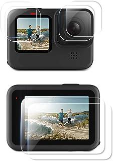 ELYCO Protecteur D'écran pour GoPro Hero 9 Black/GoPro Hero10, [2 Set/6 Pcs] 9H Dureté HD Verre Trempé Protection Écran po...