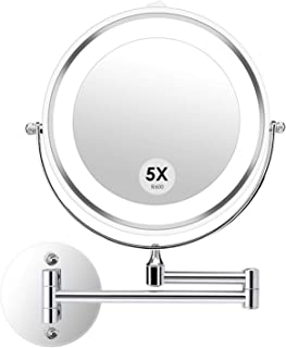 alvorog Wall Mounted Makeup Mirror LED Lighted Double Sided 5X Magnification 360° Swivel Extendable Cosmetic Vanity Mirror for Bathroom Hotels, Powered by Batteries (Not Included)-7 inches