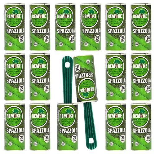 Quitapelusas 16 Rodillos +2 Mangos - 95% Plástico Reciclado - Rodillo Quitapelos Mascotas - 24 Hojas Extra Adhesivas - Rollo Adecuado para Polvo, Ropa, Pelusas. Made in Italy