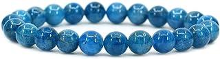アマンダストーン 誕生石 8mm 青いアパタイト ビーズ 天然石 水晶 ブレスレット(内周18cm) 浄化 癒し