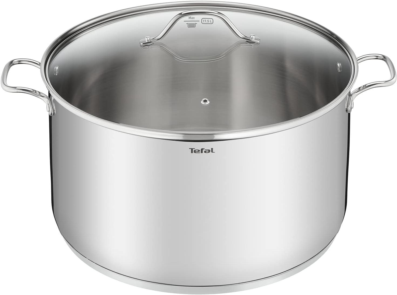 Tefal Intuition Cacerola de 36 cm con capacidad de 20.3 L, con tapa, acero inoxidable, marcas medición, tapas cristal, aptas para del horno y lavavajillas