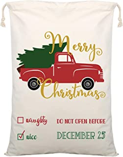 Red Truck with Christmas Tree - Large Christmas Bag Santa Sack ~ Eco Friendly Reusable Cotton Design - Gift Bags Storage Size XL 27