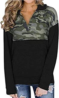 Women Quarter Zip Color Block Pullover Sweatshirt Tops with Pockets(9 Colors,S-XXL)