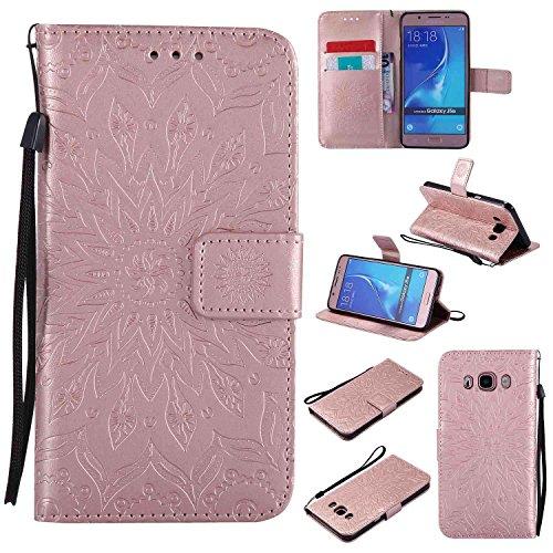 pinlu® Flip Funda de Cuero para Samsung Galaxy J5 (2016) J510 Carcasa con Función de Stent y Ranuras con Patrón de Girasol Cover (Oro Rosa)