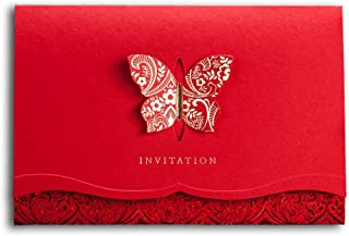 [Butterfly and Flowers] WISHMADE Classic Chinese Red Wedding Invitations Card, Elegant Butterfly Design Party Invites Kit with Printable Blank Insert and Red Envelops CW504 (1 Sample)