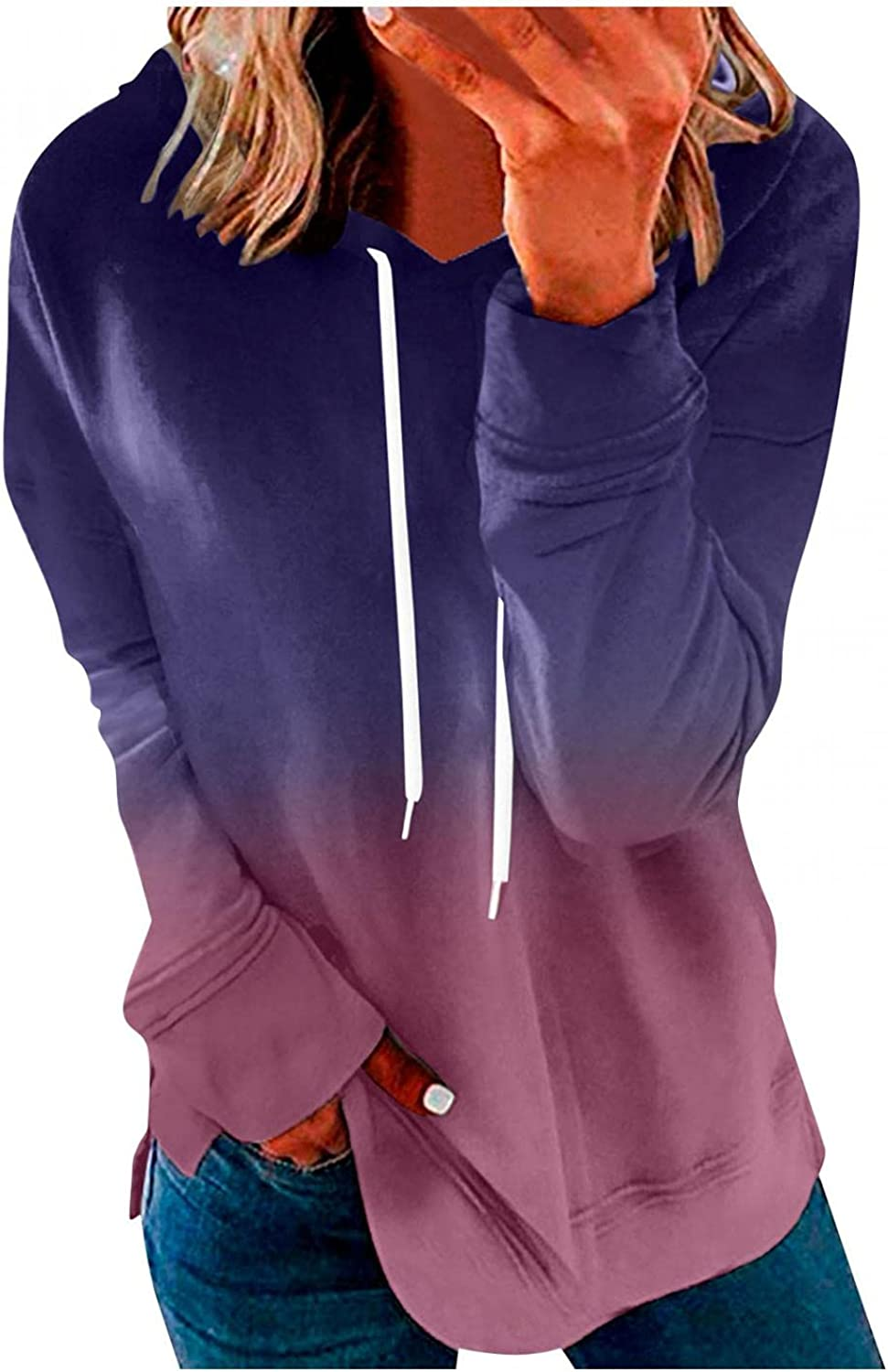 Hoodies Clearance SALE! Limited time! for Women VISLINDU Women's OFFicial site Gradient Sleeve Hooded Long