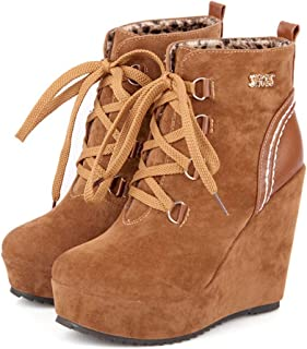 WOMENS TAN LACE UP HIGH WEDGE HEEL PADDED ANKLE CASUAL BOOTS BOOTIES LADIES SIZE