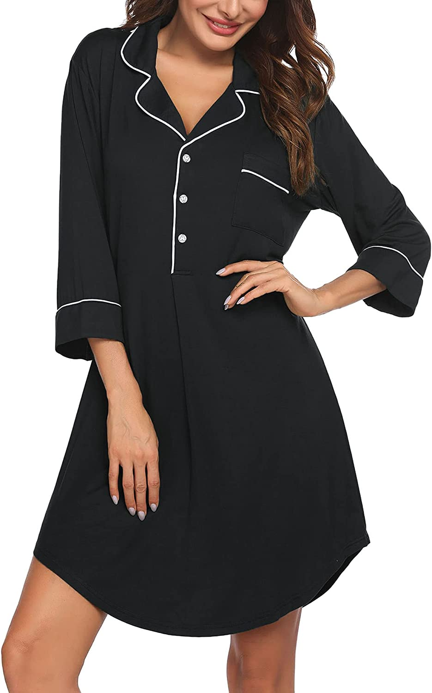 Ekouaer Button Down Sleepshirt 3/4 Sleeve &Half Sleeve Nightgown Notch Collar Pajama Top Boyfriend Nightdress for Women