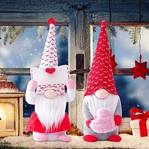 HAITAO 2 gnomos de San Valentín pareja amor sueco Tomte, gnomo muñeca de Papá Noel sin rostro, muñeca Gnomes Tomte hecha a mano regalos de San Valentín para mujeres (mediano)