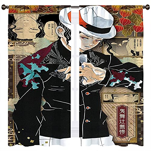 Anime Demon Slayer Kimetsu No Yaiba Kibutsuji Muzan Cortinas opacas para niñas o niños, sala de tratamiento de ventana de habitación W140xL160cm