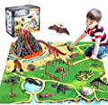 Dinosaur Volcano Figures Toy with Mat,Educational Mist-spouting Volcano Playset with Realistic Dinosaurs,Stone and Tree,Create a Dino World Party Gifts for Kids Boys and Girls from BeebeeRun