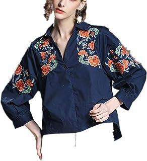 MUMUWU レディース Vネック エレガント ショート 刺繍 デザイン ルーズシャツ