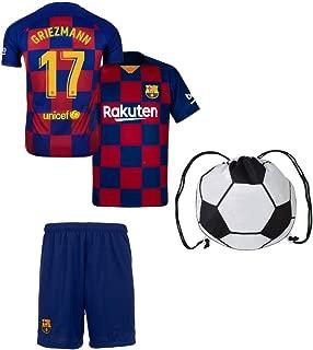 ASFA Antoine Griezmann Barcelona #17 Youth Soccer Jersey Home Short Sleeve Kit Shorts Kids Gift Set