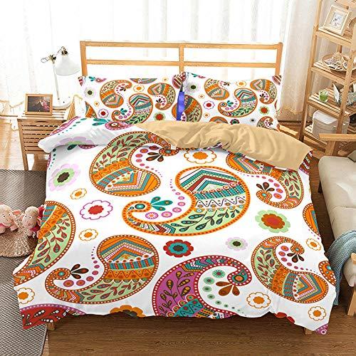 Flor Mandala Coloreada Cama de impresión 3D, Juego de Funda nórdica para niños y bebés Personalizados, Ropa de Cama 140cm x 200cm