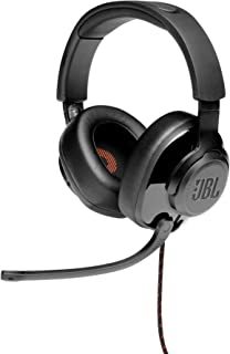 JBL Quantum 300, over-ear gaming headset met opklapbare microfoon en hybride bedrading, in zwart