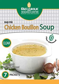Protein Enhanced Chicken Bouillon Soup Mix by Metabolic Research Center, 15g Protein, 7 Powder Packages
