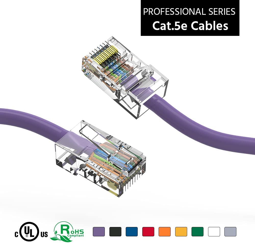 ACCL 7Ft Cat5E UTP Ethernet Network Max 57% OFF Purple 10 Cable Max 67% OFF Non Booted