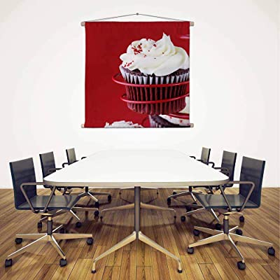 ArtzFolio Photo of Red Velvet Cupcake Silk Fabric Painting Tapestry Scroll Art Hanging 12inch x 8inch (30.5cms x 20.3cms)
