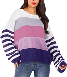 Womens Lightweight Crew Neck Color Block Sweater Long Sleeve Knit Pullover Jumper Top
