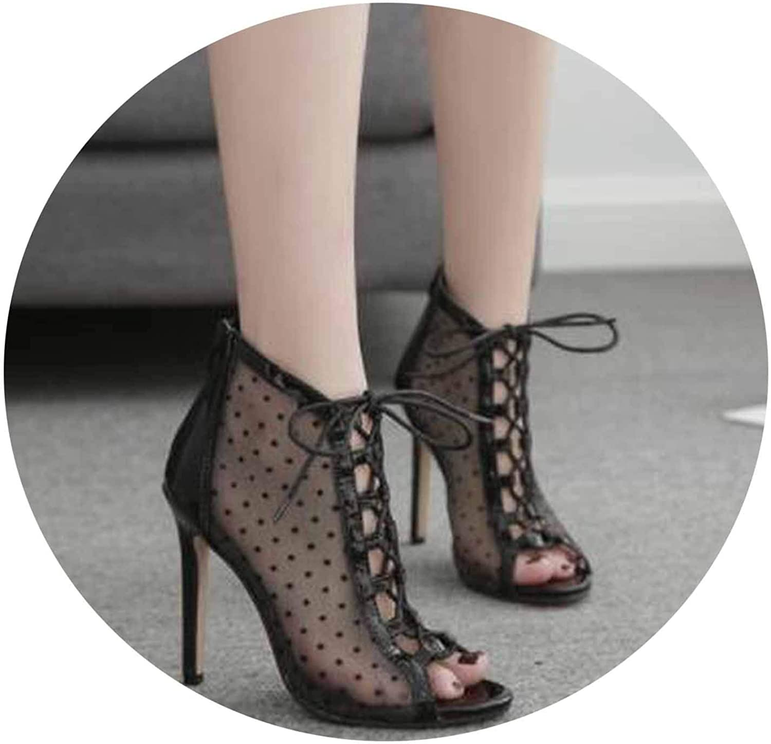 Summer shoes Women Fish Mouth net Cloth Ankle Cross Ties high Heel Sandals Nightclub Sexy Pumps