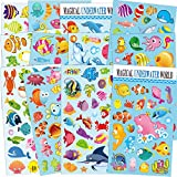 Sea World Scrapbook Decal Stickers for Kids 12 Sheets with Angelfish, Sharks, Starfish, Sharks, Hippocampus, Octopus, Whale, Great as Reward Stickers Birthday Party Favors Toddlers