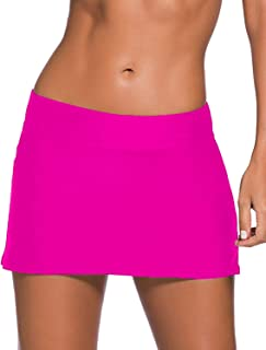 REKITA Women Swim Skirt Solid Color Waistband Skort Bikini Bottom